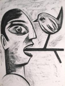 Rafael-Perea-de-la-Cabada-Birds-on-a-Wire-Pajaros-en-el-Alambre-Charcoal-Drawing-30-x-22-inch.-2018
